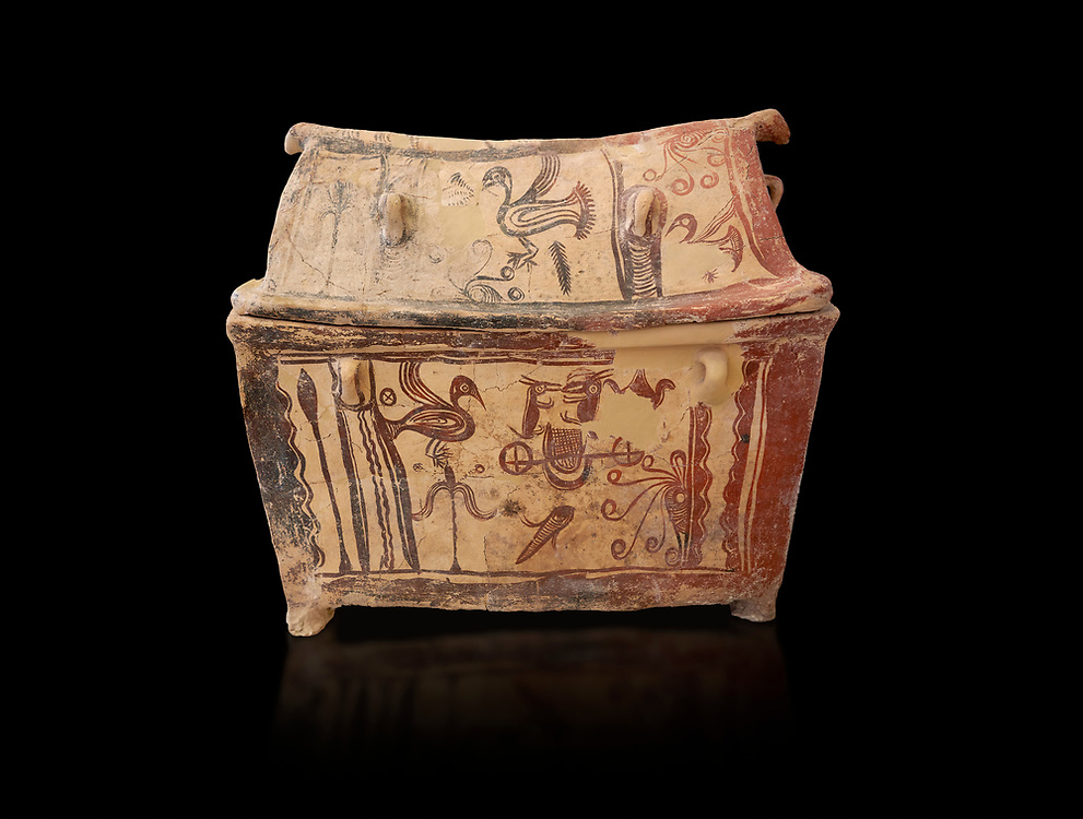 Minoan  pottery gabled larnax coffin chest with birds and marine animals,  Anthanatoi 1370-1250 BC, Heraklion Archaeological  Museum, black background. .<br /> <br /> If you prefer to buy from our ALAMY PHOTO LIBRARY  Collection visit : https://www.alamy.com/portfolio/paul-williams-funkystock/minoan-art-artefacts.html . Type -   Heraklion   - into the LOWER SEARCH WITHIN GALLERY box. Refine search by adding background colour, place, museum etc<br /> <br /> Visit our MINOAN ART PHOTO COLLECTIONS for more photos to download  as wall art prints https://funkystock.photoshelter.com/gallery-collection/Ancient-Minoans-Art-Artefacts-Antiquities-Historic-Places-Pictures-Images-of/C0000ricT2SU_M9w