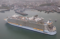 Royal Caribbean International's Oasis of the Seas - the world's largest cruise ship - makes it's UK debut in Southampton. At 40 per cent larger than any other cruise ship to ever call in Southampton the ship features rock climbing, ice skating, surfing, zip lining and even an outdoor park. 5,400 guests joined the ship in Southampton to sail to Fort Lauderdale, Florida.