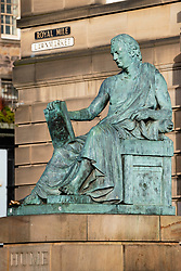 Statue of Hume on Royal Mile in Edinburgh, Scotland ,UK