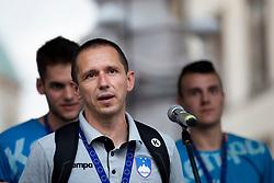 Sasa Praprotnik, head coach of Slovenia during reception of Slovenian U20 handball players after winning gold at 2018 EHF U20 Men's European Championship, on July 30, 2018 in Ljubljana, Slovenia. Photo by Urban Urbanc / Sportida