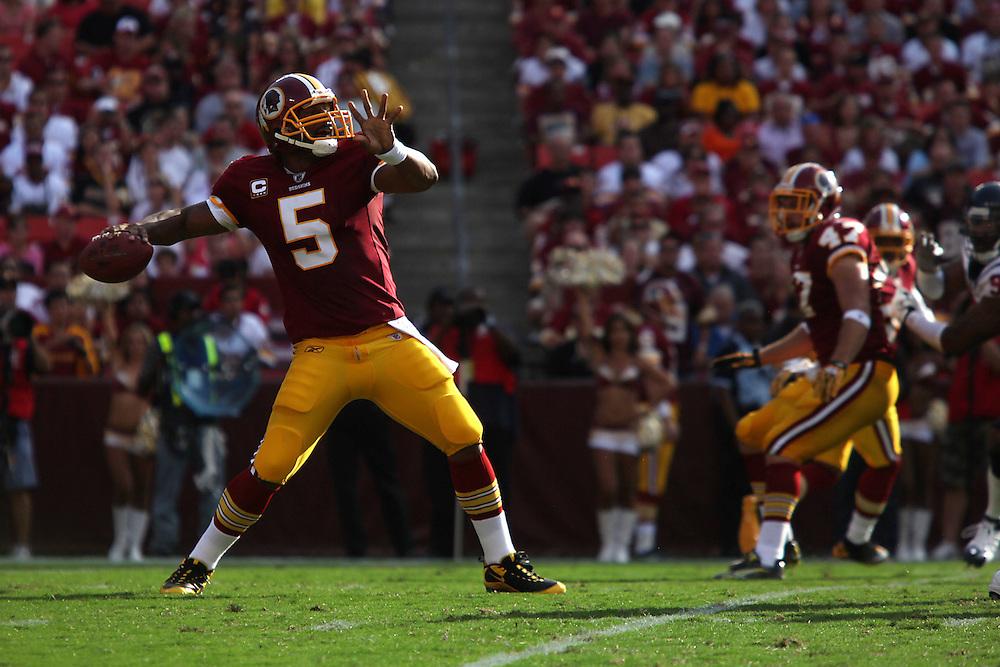 Landover, Md., Sept. 19, 2010 - Washington Redskins vs. Houston Texans - Redskins QB #5 Donovan McNabb goes deep in the first half.