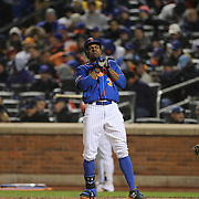 Curtis Granderson, New York Mets, reacts to a call during the MLB NLCS Playoffs game two, Chicago Cubs vs New York Mets at Citi Field, Queens, New York. USA. 18th October 2015. Photo Tim Clayton
