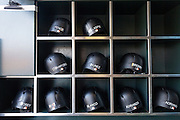 San Francisco Giants batting helmets sit in the dugout before a game against the New York Mets at AT&T Park in San Francisco, Calif., on August 21, 2016. (Stan Olszewski/Special to S.F. Examiner)