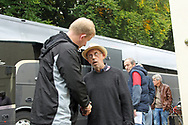 Gilliingham manager Adrian Pennock meets fans during the EFL Sky Bet League 1 match between Rochdale and Gillingham at Spotland, Rochdale, England on 23 September 2017. Photo by Daniel Youngs.