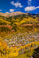 Overview of fall color in Telluride in the San Juan Mountains (from the gondola), Colorado USA.