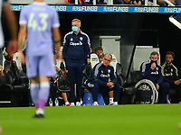 NEWCASTLE UPON TYNE, ENGLAND - SEPTEMBER 17: Marcelo Bielsa of Leeds United sits at the side of the pitch during the Premier League match between Newcastle United and Leeds United at St. James Park on September 17, 2021 in Newcastle upon Tyne, England. (Photo by MB Media)
