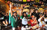 Mexico fans at La Hacienda in Salinas exult at Giovani Dos Santos' opening goal in Sunday's World Cup match against Holland. With only minutes left to go in the game, however, the Dutch scored twice to win the match, dashing Mexico's beautiful dream of advancing.
