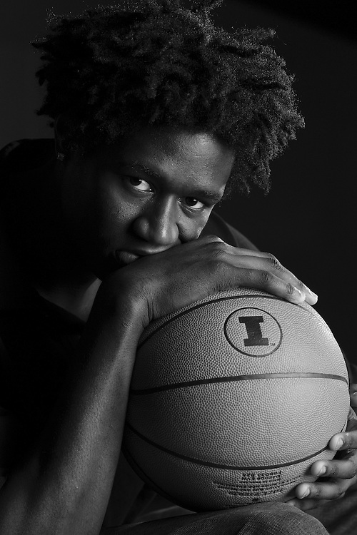 Warren Carter, basketball player for the University of Illinois photographed at the Ubben Basketball Practice Facility on the University of Illinois campus in Champaign, Illinois...
