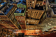 architecture Photography New York City   Vertigo   New Street at night   Financial District, Manhattan, NYC, USA