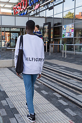 Lance enters Tesco Extra where he was unable to obtain a knife in an exercise where a 17-year-old visited numerous big brand shops on Streatham High Road in an attempt to purchase a knife to illustrate the extent of knife control and age checking in London stores. Streatham, London, August 30 2019.