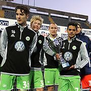 Vfl Wolfsburg's players celebrates with the lift the TUTTUR CUP trophy during their Tuttur Cup Final soccer match Werder Bremen between Werder Bremen v Vfl Wolfsburg at Mardan stadium in Antalya Turkey on 09 Wednesday January, 2013. Photo by Aykut AKICI/TURKPIX