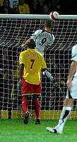 Photo: Richard Lane.<br />Watford v Fulham. The Barclays Premiership. 02/10/2006. <br />Fulham's Heider Helguson heads in his team's second goal.