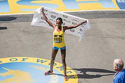 Boston Marathon Atsede Baysa of Ethiopia celebrates her win