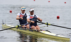 Great Britain's Oliver Cook and Matthew Rossiter in the Me's Pair heat two race during day one of the 2018 European Championships at the Strathclyde Country Park, North Lanarkshire.