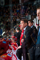 KELOWNA, CANADA - NOVEMBER 9: Valery Bragin coach of Team Russia stands on the bench against the Team WHL on November 9, 2015 during game 1 of the Canada Russia Super Series at Prospera Place in Kelowna, British Columbia, Canada.  (Photo by Marissa Baecker/Western Hockey League)  *** Local Caption *** Valery Bragin;