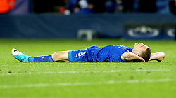 Jamie Vardy of Leicester City lies on the flood dejected after the defeat to Atletico Madrid in the UEFA Champions League Quarter-Final - Mandatory by-line: Robbie Stephenson/JMP - 18/04/2017 - FOOTBALL - King Power Stadium - Leicester, England - Leicester City v Atletico Madrid - UEFA Champions League Quarter-Final Second Leg