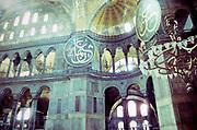 Interior of Hagia Sofia mosque church museum, Istanbul, Turkey in 1997