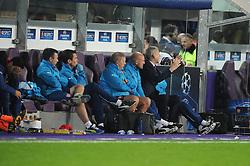 Arsenal Manager, Arsene Wenger (far right) and Arsenal's Mikel Arteta (far left) react as Anderlecht score the first goal of the game - Photo mandatory by-line: Dougie Allward/JMP - Mobile: 07966 386802 - 22/10/2014 - SPORT - Football - Anderlecht - Constant Vanden Stockstadion - R.S.C. Anderlecht v Arsenal - UEFA Champions League - Group D