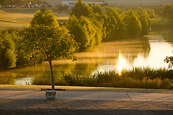 A golden sunset on the pond at Storey Park in Houston, Texas