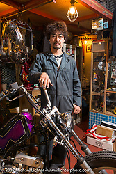 "Kaichiroh ""Kross"" Kurosu in his Cherry's Company shop. Tokyo, Japan. Thursday December 7, 2017. Photography ©2017 Michael Lichter."