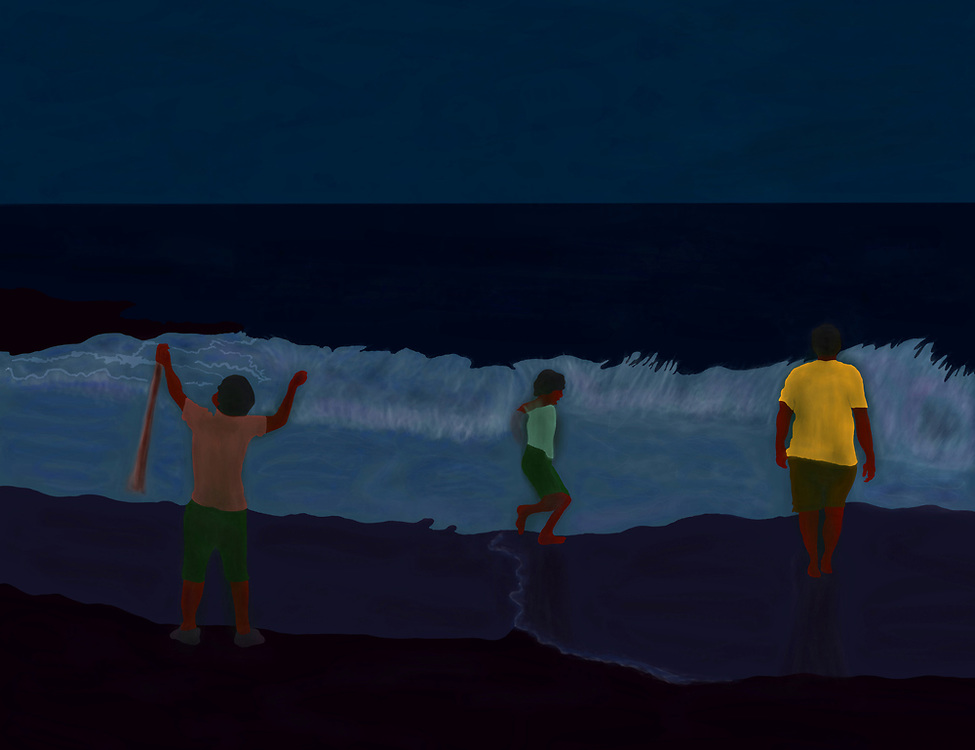 Three people playing in the surf and waves at night on a beach.