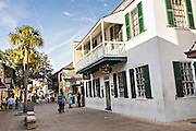 George Street in the historic district in St. Augustine, Florida. St Augustine is the oldest city in America.