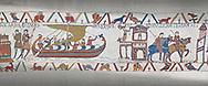 Bayeux Tapestry scene 23 : Having sworn fealty to Duke William Harold sails back to England. .<br /> <br /> If you prefer you can also buy from our ALAMY PHOTO LIBRARY  Collection visit : https://www.alamy.com/portfolio/paul-williams-funkystock/bayeux-tapestry-medieval-art.html  if you know the scene number you want enter BXY followed bt the scene no into the SEARCH WITHIN GALLERY box  i.e BYX 22 for scene 22)<br /> <br />  Visit our MEDIEVAL ART PHOTO COLLECTIONS for more   photos  to download or buy as prints https://funkystock.photoshelter.com/gallery-collection/Medieval-Middle-Ages-Art-Artefacts-Antiquities-Pictures-Images-of/C0000YpKXiAHnG2k