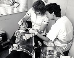 Mobile dentist at Bestwood Park health centre, Nottingham UK 1991