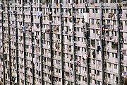 High-rise apartment with laundry hanging from windows in Caracas, Venezuela.
