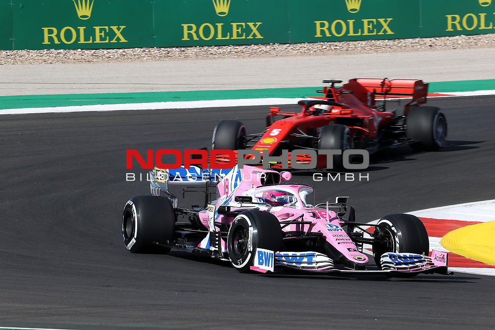 23.10.2020, Autódromo Internacional do Algarve, Portimao, FORMULA 1 HEINEKEN PORTUGUESE GRAND PRIX 2020,im Bild<br />Lance Stroll (CAN#18), BWT Racing Point F1 Team, Sebastian Vettel (GER#5), Scuderia Ferrari<br /> <br /> Foto © nordphoto / Bratic