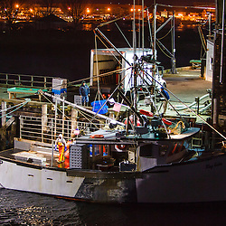 Fisherman unloading the hold of their boat at the commercial fishing pier in Portsmouth, New Hampshire.
