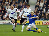Photo: Kevin Poolman.<br />Derby County v Leicester City. Coca Cola Championship. 25/11/2006. Seth Johnson and David Jones (middle) of Derby stop Stephen Hughes of Leicester from making a run.