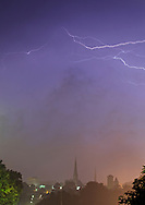 Middletown, NY - Lightning streaks across the sky as a thunderstorm approaches on Aug. 9, 2009.