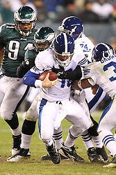 PHILADELPHIA - NOVEMBER 7: Ernie Sims of the Philadelphia Eagles sacks Peyton Manning during a game against the Indianapolis Colts on November 7, 2011 at Lincoln Financial Field in Philadelphia, Pennsylvania.  (Photo by Hunter Martin/Getty Images) *** Local Caption ***