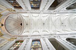 THEMENBILD - Brüssel ist die Haupt- und Residenzstadt des Königreichs Belgien, Sitz der Institutionen der Flämischen und Französischen Gemeinschaft Belgiens sowie von Flandern und Hauptort der Region Brüssel-Hauptstadt. Zudem stellt die Stadt den Hauptsitz der Europäischen Union sowie den Sitz der NATO, ferner den des ständigen Sekretariats der Benelux-Länder, der Westeuropäischen Union und der EUROCONTROL, hier im Bild Innenaufnahme Decke im Chorraum Kirche Chapelle Notre Dame du Finist¬ère aufgenommen am 28. Juli 2013 // THEMES PICTURE - Brussels is the capital and residence city of the Kingdom of Belgium, the seat of the institutions of the Flemish and French Community of Belgium and the capital of Flanders and Brussels-Capital Region. In addition, the city is the headquarters of the European Union, and the headquarters of NATO, also the Permanent Secretariat of the Benelux countries, the Western European Union and EUROCONTROL pictured on 28th of July 2013. EXPA Pictures © 2013, PhotoCredit: EXPA/ Eibner/ Michael Weber<br /> <br /> ***** ATTENTION - OUT OF GER *****