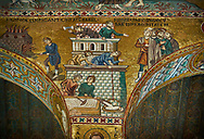 Medieval Byzantine style mosaics of the Bible story of building Babel Palatine Chapel, Cappella Palatina, Palermo, Italy .<br /> <br /> If you prefer you can also buy from our ALAMY PHOTO LIBRARY  Collection visit : https://www.alamy.com/portfolio/paul-williams-funkystock/byzantine-art-antiquities.html . Type -    Palatine     - into the LOWER SEARCH WITHIN GALLERY box. Refine search by adding background colour, place, museum etc<br /> <br /> Visit our BYZANTINE MOSAIC PHOTO COLLECTION for more   photos  to download or buy as prints https://funkystock.photoshelter.com/gallery-collection/Roman-Byzantine-Art-Artefacts-Antiquities-Historic-Sites-Pictures-Images-of/C0000lW_87AclrOk
