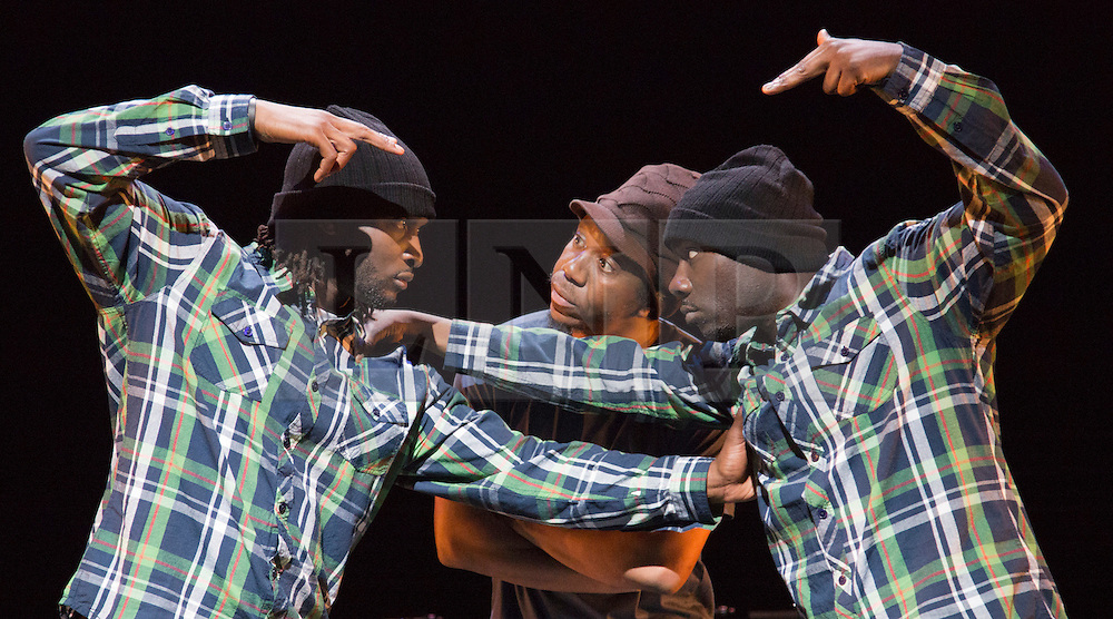 """© Licensed to London News Pictures. 17/10/2012. London, England. Jonzi D, centre, with Kenrick 'H2O"""" Sandy and Mikey J' Asante of Blue Boy Entertainment. Lyrikal Fearta - Redux revisits some of Jonzi's best known works, including Guilty, Shoota, Safe, Classroom, The Fast Lane and Cracked Mirror. To perform these pieces at the Lilian Baylis Studio at Sadler's Wells, Jonzi is joined by hip hop dance talent including Banxy, Bboy Tuway, Bboy Unique, Lil' Tim and from Boy Blue Entertainment Kenrick 'H2O' Sandy and Michael 'Mikey J' Asante. Photo credit: Bettina Strenske/LNP"""