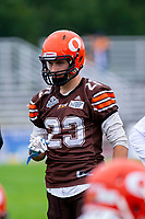 KELOWNA, BC - SEPTEMBER 8:  Dominic Britton #23 of Okanagan Sun warms up against the Langley Rams  at the Apple Bowl on September 8, 2019 in Kelowna, Canada. (Photo by Marissa Baecker/Shoot the Breeze)