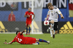 July 3, 2017 - Saint Petersburg, Russia - Mauricio Isla (L) of Chile national team and Timo Werner of Germany national team vie for the ball during FIFA Confederations Cup Russia 2017 final match between Chile and Germany at Saint Petersburg Stadium on July 2, 2017 in Saint Petersburg, Russia. (Credit Image: © Mike Kireev/NurPhoto via ZUMA Press)