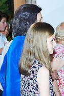 Queen Sofia of Spain, Crown Princess Leonor attends Ara Malikian Concert at Porto Adriano on August 2, 2018 in Mallorca, Spain