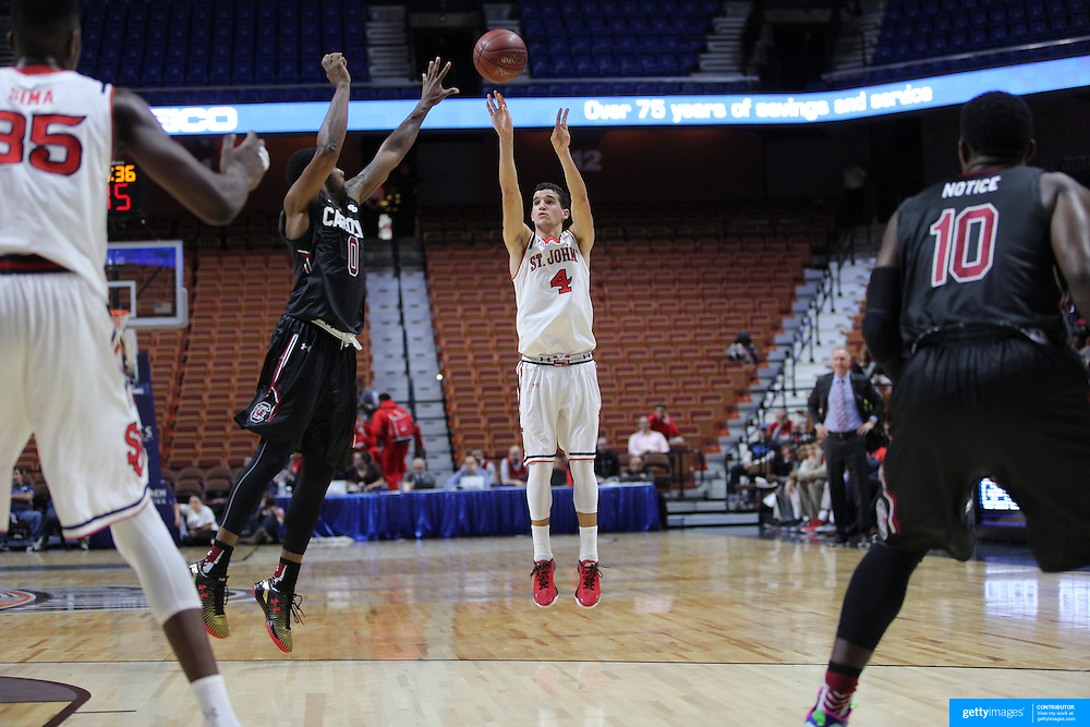 Federico Mussini, St. John's, shoots for three during the St. John's vs South Carolina Men's College Basketball game in the Hall of Fame Shootout Tournament at Mohegan Sun Arena, Uncasville, Connecticut, USA. 22nd December 2015. Photo Tim Clayton