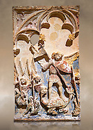 Late 13th or 14th century Gothic Bas-relief depicting the miracle performed by St Michael at Mont St Michael. limestone with traces of polcrome from the Church of San Miguel de Canet lo Roig (Castello), by the Master of Sant Mateu. Inv MNAC 45846-45845. National Museum of Catalan Art (MNAC), Barcelona, Spain .<br /> <br /> If you prefer you can also buy from our ALAMY PHOTO LIBRARY  Collection visit : https://www.alamy.com/portfolio/paul-williams-funkystock/gothic-art-antiquities.html  Type -     MANAC    - into the LOWER SEARCH WITHIN GALLERY box. Refine search by adding background colour, place, etc<br /> <br /> Visit our MEDIEVAL ART PHOTO COLLECTIONS for more   photos  to download or buy as prints https://funkystock.photoshelter.com/gallery-collection/Medieval-Gothic-Art-Antiquities-Historic-Sites-Pictures-Images-of/C0000gZ8POl_DCqE