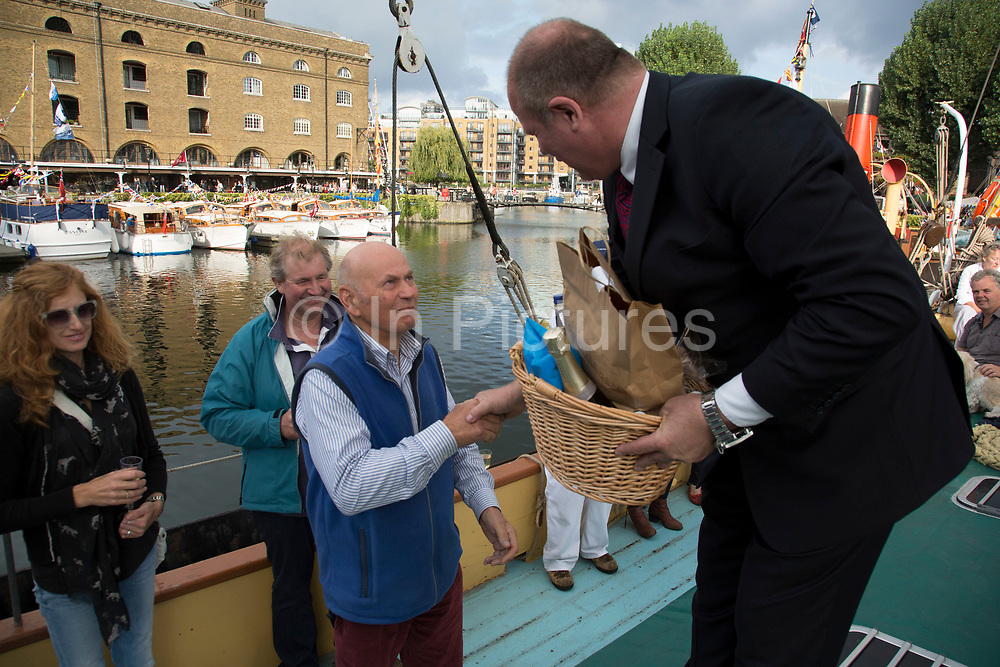 Aboard a classic boat moored at St Katherine Docks, awards are given out to boat owners. Totally Thames takes place over the whole month in September, combining arts, cultural and river events presented by Thames Festival Trust throughout the 42-mile stretch of the River Thames in London, UK.