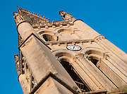 Looking up at the church steeple in Saint Emilion, France
