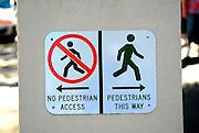 Pedestrian signs, The Rocks, Sydney, Australia