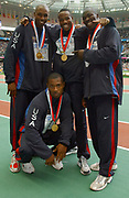 United States gold-medal men's 400-meter relay in the IAAF World Championships in Athletics at Stade de France on Sunday, Aug. 31, 2003. Front row: Bernard Williams: Back from left: :J.J. Johnson, Darvis Patton and John Capel.