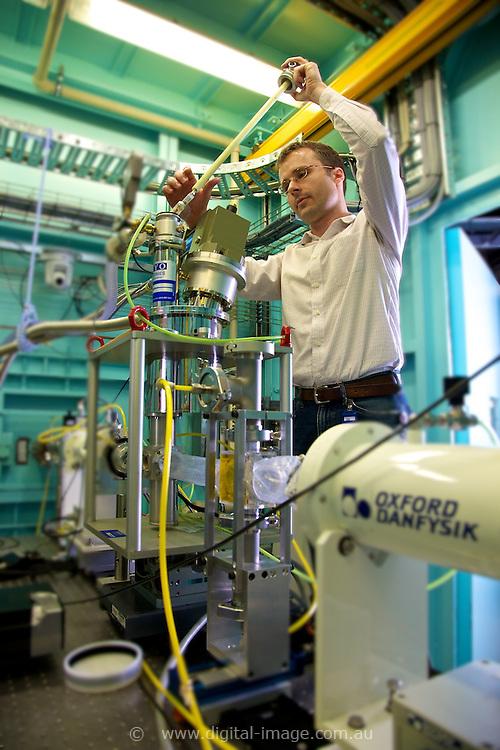 Xray Absorption Spectroscopy Beamline, Australian Synchrotron. Dr Bernt Johannessen, placing stage on beamline.