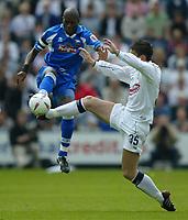 Photo: Chris Brunskill, Digitalsport<br />  Preston North End v Derby County. Play-Off Semi Final 1st Leg. 15/05/2005.  Ian Taylor of Derby challenges David Nugent of Preston.