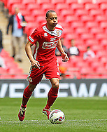 North Shields Denver Morris during the FA Vase Final between Glossop North End and North Shields at Wembley Stadium, London, England on 9 May 2015. Photo by Phil Duncan.