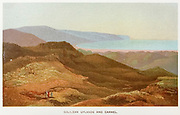 Galilean Uplands and Carmel Coloured Illustration of from the book Palestine illustrated by Sir Richard Temple, 1st Baronet, GCSI, CIE, PC, FRS (8 March 1826 – 15 March 1902) was an administrator in British India and a British politician. Published in London by W.H. Allen & Co. in 1888
